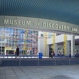 outside and signage for Museum of discovery and science located in Fort Lauderdale, Florida